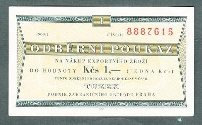 TUZEX 1 kčs 1/1969 stav 0