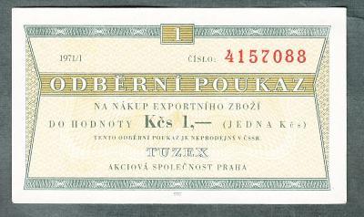 TUZEX 1 kčs 1/1971 stav 0