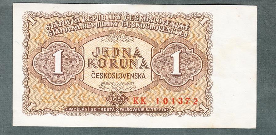 1 kčs 1953 serie KK neperforovana stav 0 - Bankovky