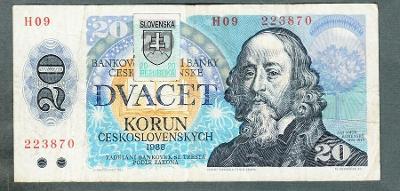 20 kčs 1988 SLOVENSKÝ KOLEK serie H09