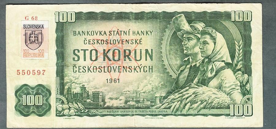 100 kčs 1961 SLOVENSKÝ KOLEK serie G68 - Bankovky