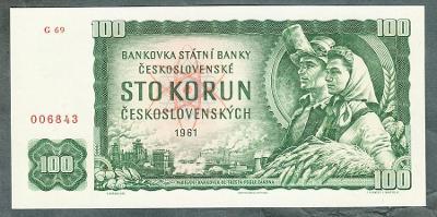 100 kčs 1961 serie G stav UNC