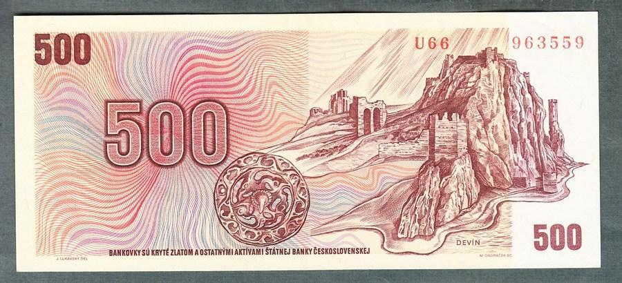 500 kčs 1973 serie U66 stav 1+ - Bankovky