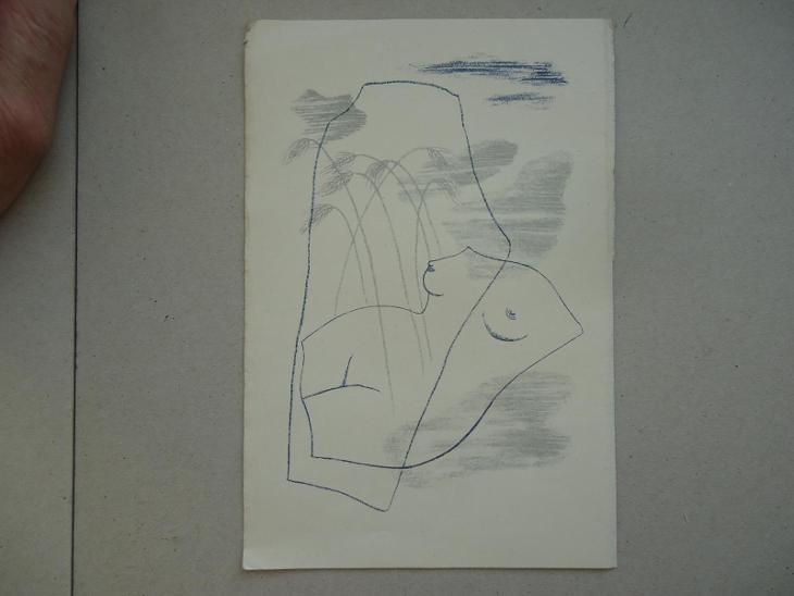 Toyen - zinkografie -  12,5 x 19 cm  ..... motiv s klasy - Antikvariát