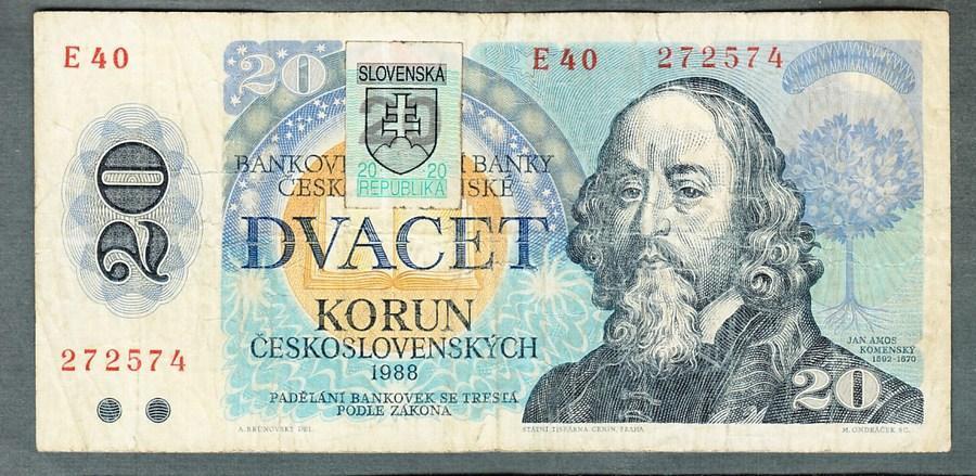 20 kčs 1988 SLOVENSKÝ KOLEK serie E40 - Bankovky