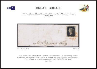 Anglie 1840 1d PL6 (QH) AS 40 intense black (celistvost)