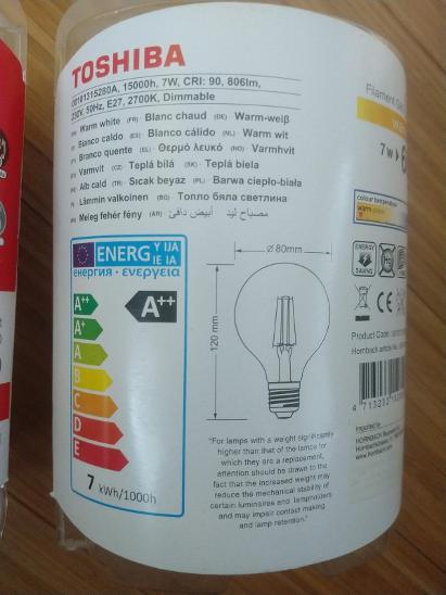 NOVÁ Čirá LED žárovka Toshiba g80, 7w, 806lm, 2700K - Zařízení