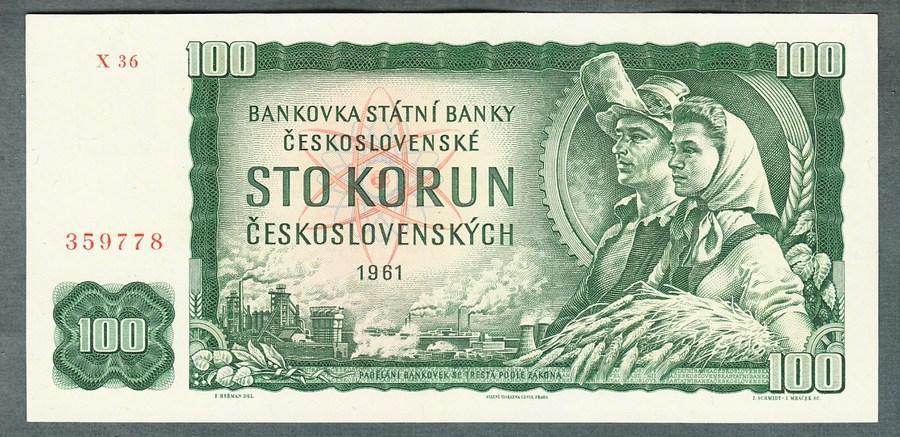 100 kčs 1961 serie X stav UNC - Bankovky