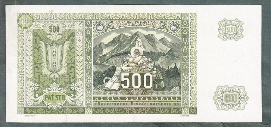 Slovensko 500 sk 1941 serie 6De NEPERFOROVANA - Bankovky