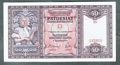 Slovensko 50 sk 1940 serie Hv NEPERFOROVANA pěkný stav