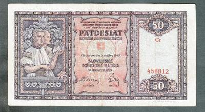Slovensko 50 sk 1940 serie Cr NEPERFOROVANA