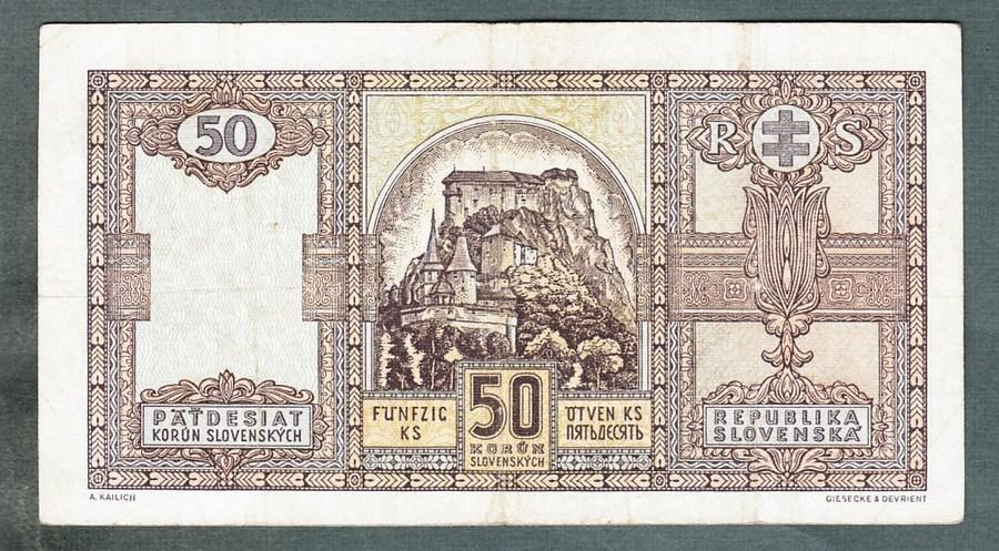 Slovensko 50 sk 1940 serie Cr NEPERFOROVANA - Bankovky