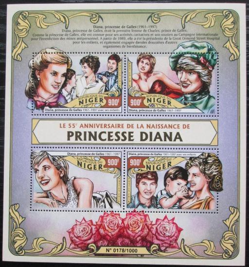 Niger 2016 Princezna Diana Mi# 4057-60 Kat 14€ 2521 - Filatelie