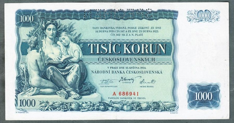 1000 korun 1934 serie A !!! perf. stav 1+ - Bankovky