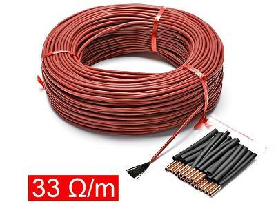 10m topný kabel 220V 150W 33ohm/m