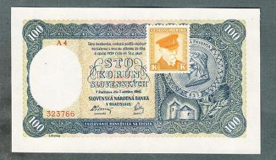 Slovensko 100 sk 1940 KOLEK NEPERFOROVANA stav UNC