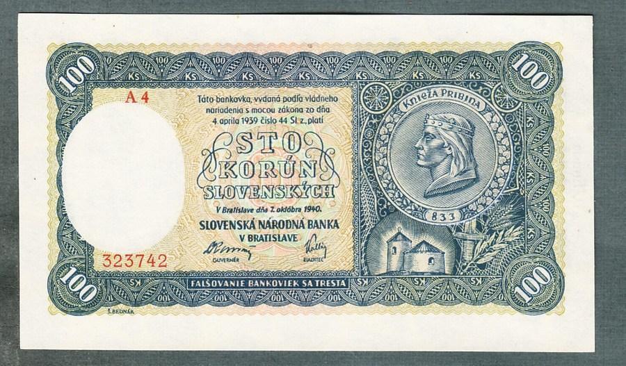Slovensko 100 sk 1940 NEPERFOROVANA stav UNC - Bankovky
