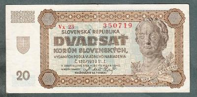 Slovensko 20 sk 1942 serie VX23 neperforovana
