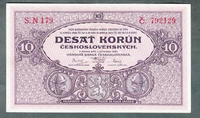 10 korun 1927 serie S.N179 NEPERFOROVANA stav 0