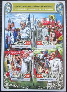 Niger 2016 Cesty papežů do Polska Mi# 4312-15 Kat 12€ 2522