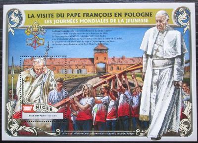 Niger 2016 Cesty papežů do Polska Mi# Block 567 Kat 12€ 2522