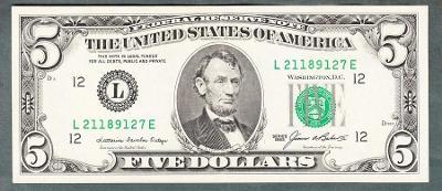 USA Amerika 5 dollar 1985 stav 1+