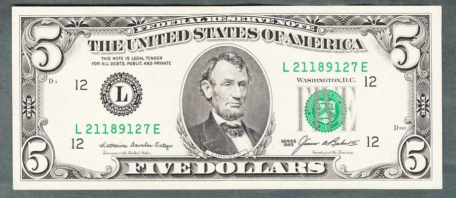 USA Amerika 5 dollar 1985 stav 1+ - Bankovky