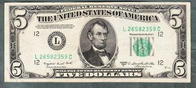 USA Amerika 5 dollar 1950