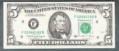 USA Amerika 5 dollar 1988 stav 0