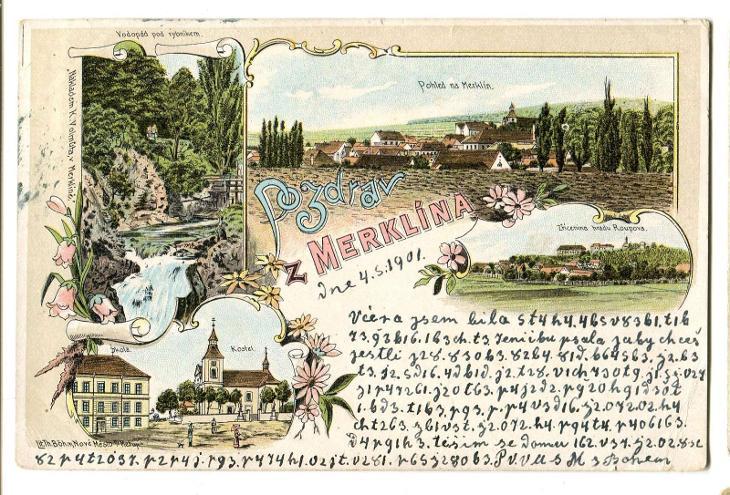 Merklín, Plzeň jih, litografie - Pohlednice