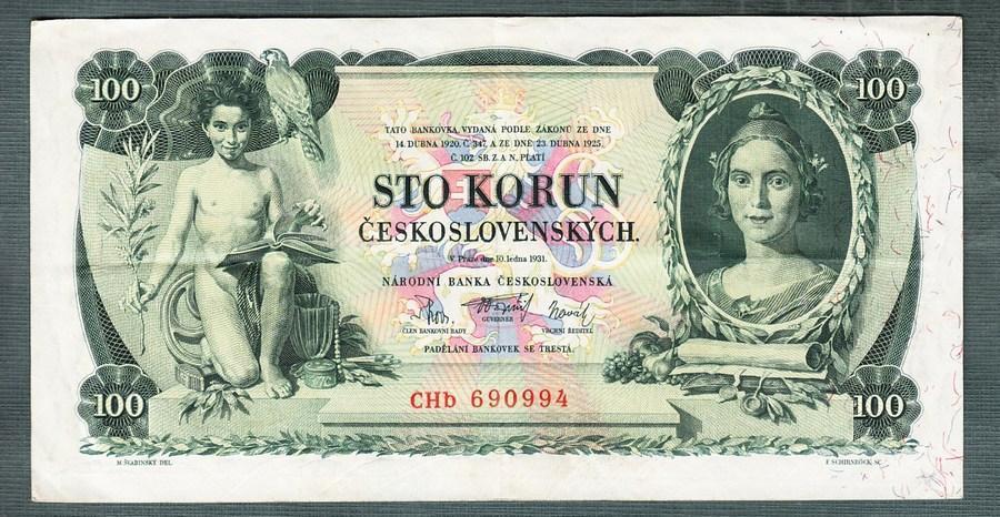 100 korun 1931 serie TŘI PÍSMENA NEPERFOROVANA - Bankovky