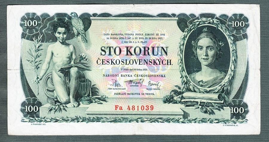 100 korun 1931 serie Fa NEPERFOROVANA - Bankovky