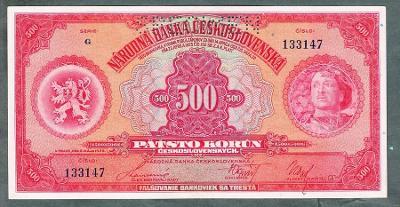500 korun 1929 serie G perf. stav 1+