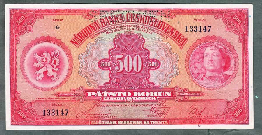 500 korun 1929 serie G perf. stav 1+ - Bankovky