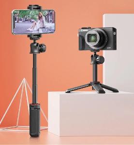 4v1 selfie tyč + stativ držák na foťák i mobil, kulová hlava, sáňky