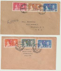 1937 2x  Obálka s kompletní korunovační sérií,  Barbados a Honduras