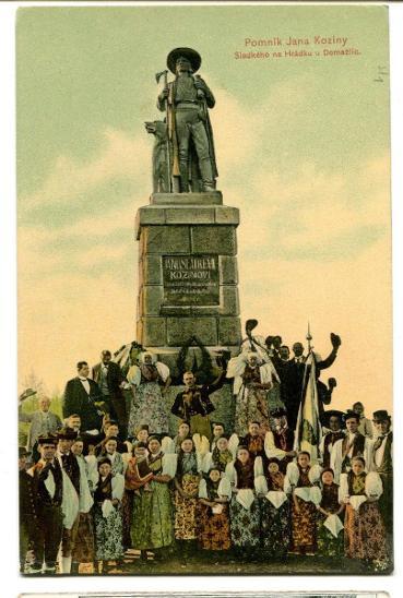 Domažlice, pomník, kroj, Chodsko - Pohlednice