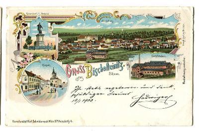Horšovský Týn, Domažlice, litografie, vpravo pivovar