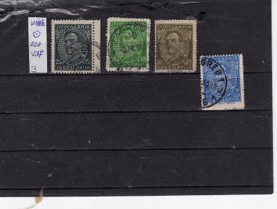Jugoslávie ražené známky  výběr Mi 228 - 237