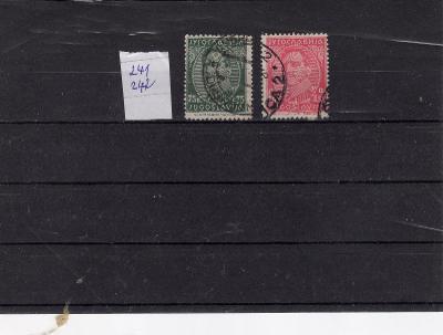 Jugoslávie ražené známky  výběr Mi 241 - 242