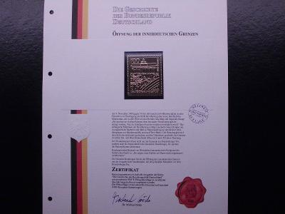 """Německo Otevření hranic známka ve """"zlatě"""" certifikát, luxus stav"""