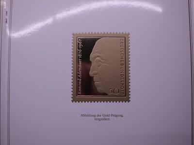 """Německo Konrad Adenauer známka ve """"zlatě"""" dárková brožura, luxus stav"""