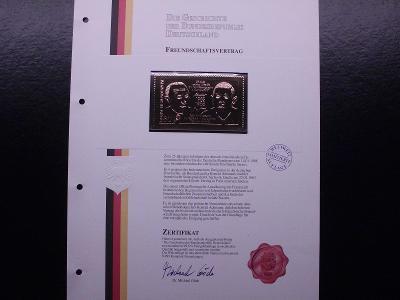 """Adenauer/ deGaulle známka ve """"zlatě"""" certifikát, luxus stav"""
