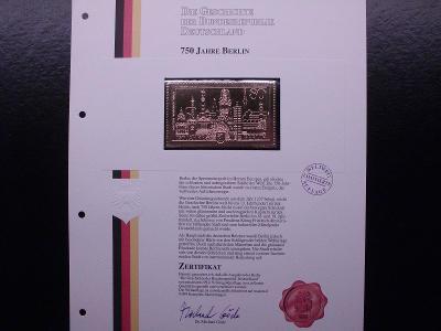 """750let BERLIN replika známé známky ve """"zlatě"""" certifikát, luxus"""