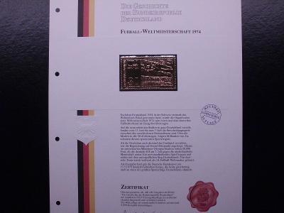 """Německo fotbal MS74 replika známé známky ve """"zlatě"""" certifikát, luxus"""