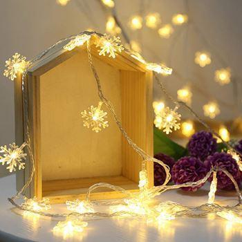 Světelný řetěz - sněhové vločky/ LED, teplá bílá / 300cm / (9545)
