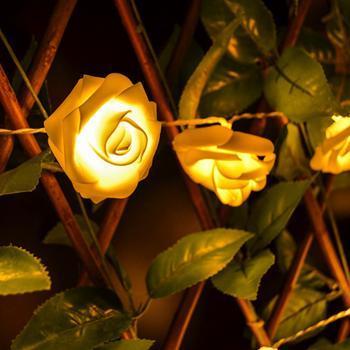 Svítící růže - dekorativní řetěz/ 250cm/ 20 růží/ voděodolné/ (342)