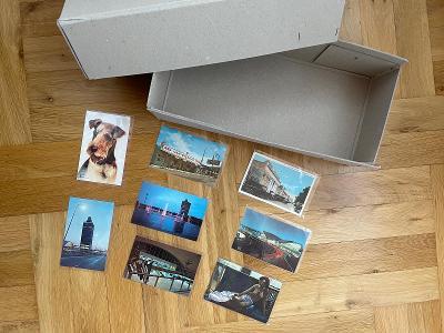 Sběratelská krabice na pohledy a 8 krásných starých pohlednic