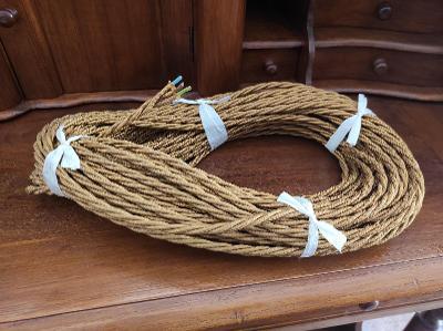 Zlatý retro kabel - troj žíla - cena za metr