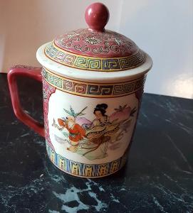 Hrnek s pokličkou na čaj - čínský motiv objem 300ml, Gejša